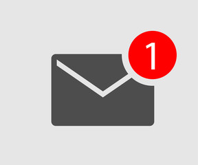 icon message. new one incoming message. black envelope with one incoming message