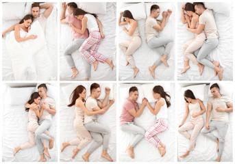 Young couple sleeping in different positions on bed, top view