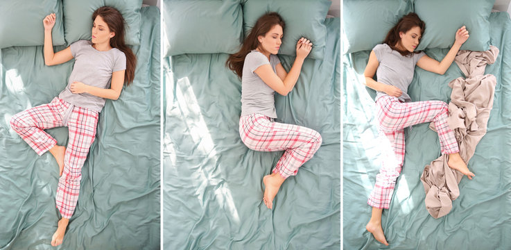 Beautiful woman sleeping in different positions on bed, top view