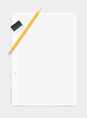 White drawing paper background with pencil and eraser. Vector.