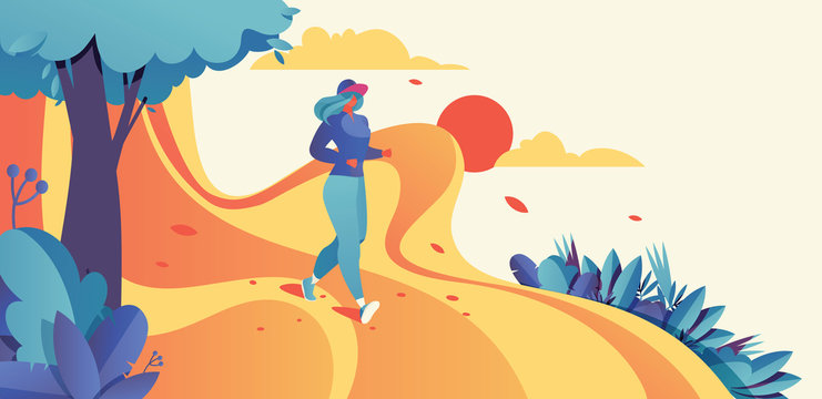 Horizontal illustration good for banner design with running woman. Jogging sport illustration in bright colors and gradients with sky, sun and greenery