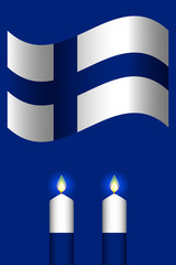 Independence Day of Finland. The concept of a national holiday. Flag of Finland. 2 white and blue candles.