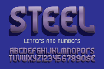 Steel letters and numbers with currency signs. Metallic 3d font. Isolated english alphabet.