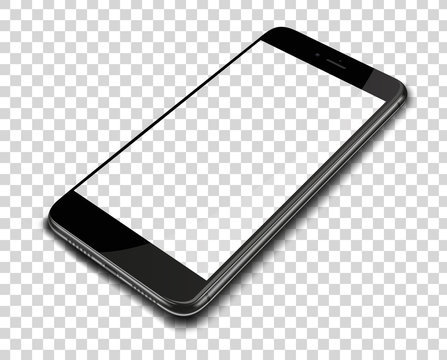 Realistic smart phone on transparent background.