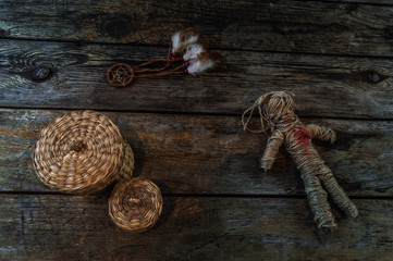 mystical composition on wooden background for Halloween