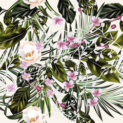 Wall Murals Botanical Fashion vector tropical palm leaves and roses pattern