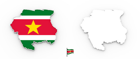 3D map of Suriname white silhouette and flag