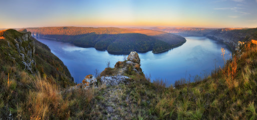 picturesque canyon of the Dniester River. autumn sunrise by the river
