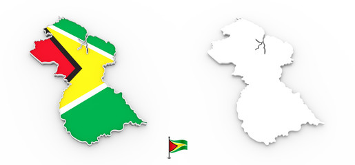 3D map of Guyana white silhouette and flag