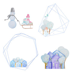 Winter set with snowmen and houses and geometric frames painted with colored watercolor pencils