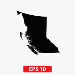 Map of British Columbia, Canada. Vector