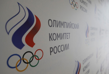 The logo of the Russian Olympic Committee is seen at its headquarters in Moscow