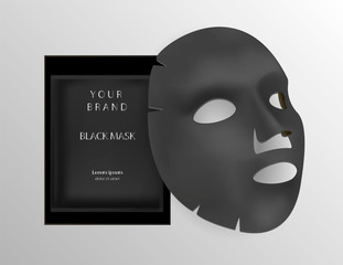 Black facial sheet mask cosmetics ads. 3d Realistic vector illustration. Package design for face mask isolated on background.