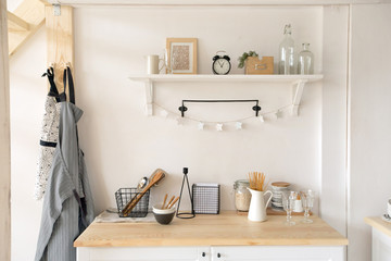 Furniture and dishware in kitchen