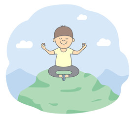 Concept of meditation for success. A friendly young man meditating in lotus pose at the top of the mountain. Isolated vector illustration in line style.