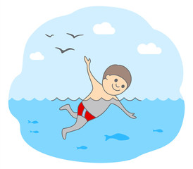 Concept of swimming and relaxation. A friendly young man swimming in waters with fishes. Isolated vector illustration in line style.