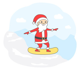 Santa Claus snowboarding in the mountains. Christmas Santa coming down off the mountain on snowboard. Vector illustration, Christmas card.