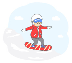 Concept of active lifestyle. Happy man snowboarding downhill at a ski resort. Vector illustration