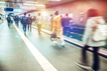 Anonymous blurred people rushing in subway train,Seoul in South Korea..