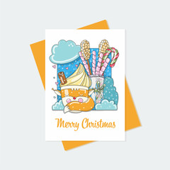 Christmas card with cartoon cup in form of fox. Cute and funny hand drawn illustration