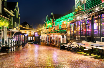 Downtown of Volendam in the Christmas night