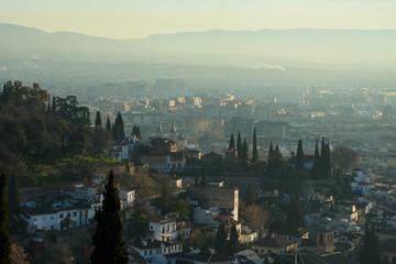 View of Granada city from San Nicolas viewpoint (Mirador de San Nicolas). Granada, Spain