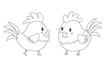 Cute rooster vector set. cute chicken printable coloring page vector