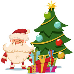 Santa Claus near Christmas tree and pile of gifts boxes. Vector cartoon illustration isolated on white background.
