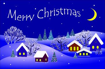 merry Christmas, winter landscape.vector