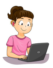 Kid Girl Deaf Hearing Aid Laptop Illustration