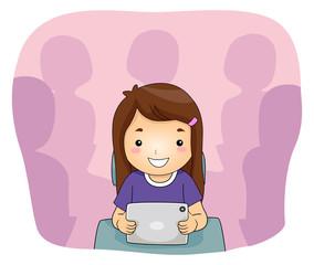 Kid Girl Tablet Classroom
