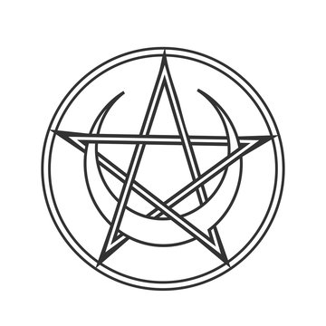 Vector for Wiccan and Occult Esoteric Community: Pentacle or pentagram of Wicca with crescent moon isolated. Wiccan pentacle symbol could also used as Satan Devil Star. Mystic circle pentagram icon.