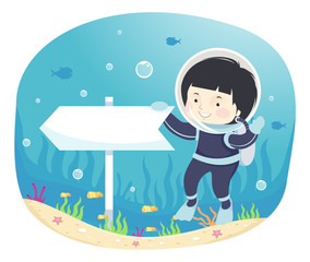 Kid Boy This Way Direction Underwater Illustration