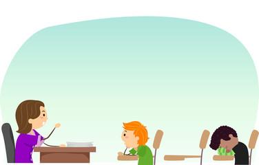 Stickman Kids Teacher Detention Seat Illustration