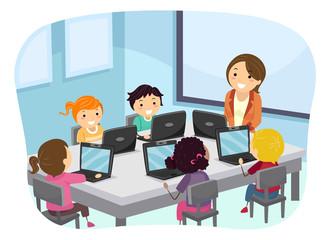Stickman Kids Teacher Laptop Class Illustration