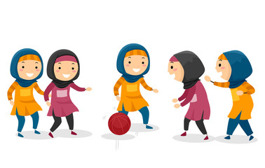 Stickman Kids Muslim Girls Basketball Game