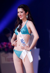 Hinano Sugimoto of Japan competes at the 58th Miss International Beauty Pageant in Tokyo