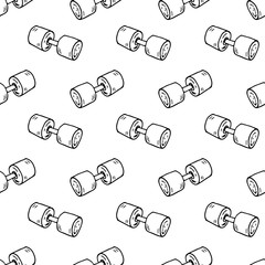 Seamless pattern hand drawn dumbbell. Doodle black sketch. Sign symbol. Decoration element. Isolated on white background. Flat design. Vector illustration