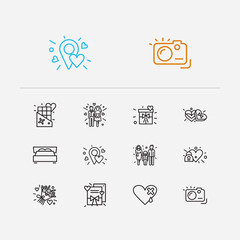 Love icons set. Couple and love icons with photo camera, family and locked heart. Set of person for web app logo UI design.