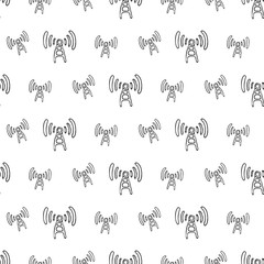 Seamless pattern hand drawn antenna. Doodle black sketch. Sign symbol. Decoration element. Isolated on white background. Flat design. Vector illustration