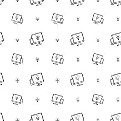 Seamless pattern hand drawn computer screen and lamp. Doodle black sketch. Sign symbol. Decoration element. Isolated on white background. Flat design. Vector illustration