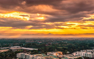 CHIANG MAI, THAILAND - OCTOBER 29, 2018: Beautiful sunrise over Chiang Mai City in Thailand.