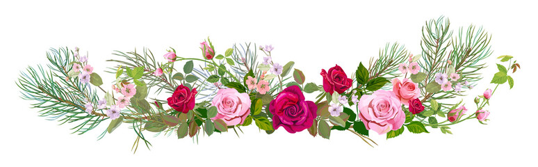 Panoramic view: bouquet roses, spring blossom, pine branches. Horizontal border: red, mauve, pink flowers, green leaves, white background. Digital draw illustration, watercolor style, vintage, vector