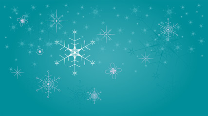 Beautiful geometric snowflakes on turquoise background fall to the ground