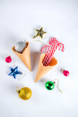 Christmas decoration layout on white background copy space top view