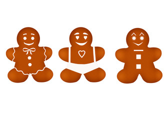 Isolated three Christmas cakes on white background. Illustration of Christmas gingerbread
