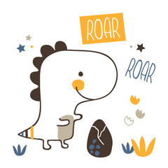 vector illustration of beautiful t-rex dinosaur print in Scandinavian style,with ornate funny lettering and cute characters,objects