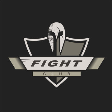 Logo template with spartan helmet and shield. Fight club logo design. Vector Illustration. Knights logo design template for a sport team
