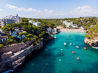 Spain, Balearic Islands, Mallorca, Aerial view of bay Cala Santanyi, beach