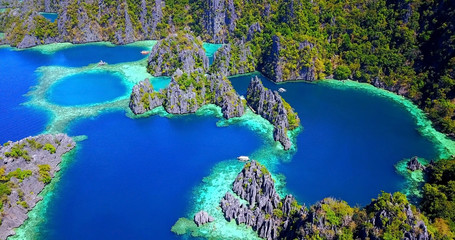Overhead View of Deep Blue Coron Lagoons in Palawan, Philippines